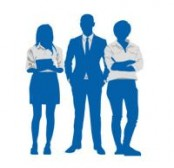 Silhouettes representing a group of business people.